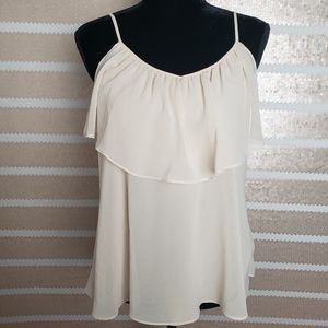 Forever 21 Sheer Flowy V Neck Tie Back Cream Top